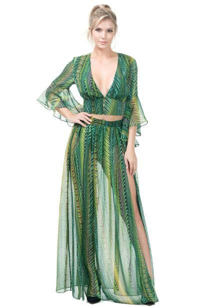 GREEN MULTI SEXY SKIRT SUIT