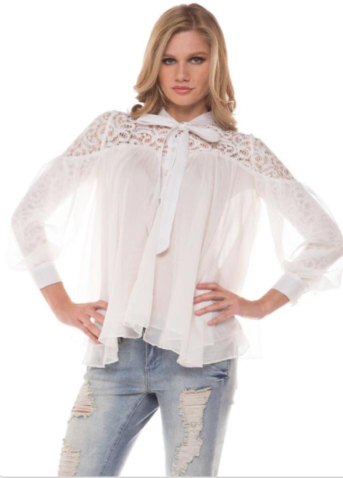 LACE ALLOVER SELF TIE BLOUSE TOP