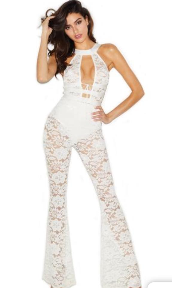 WHITE FLARED JUMPSUIT