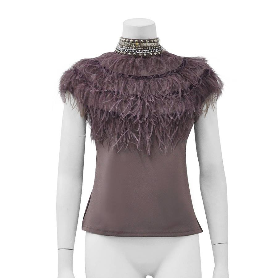 FEATHER EMBELLISHED TOP