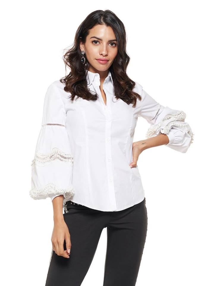 PEARL EMBELLISHED BELL SLEEVE SHIRT