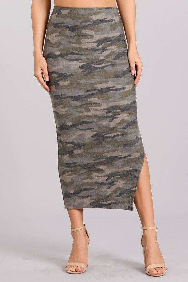 CAMOUFLAGE TOP AND SKIRT