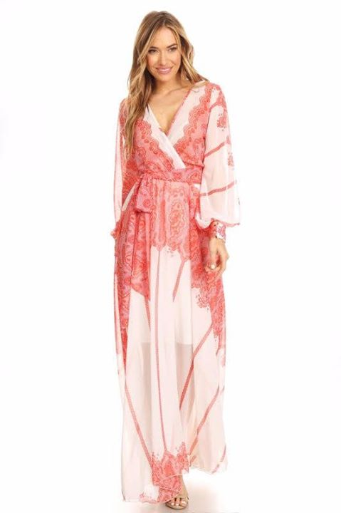 SHEER WRAPPED FLARE MAXI